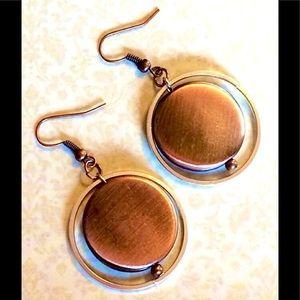 Copper Disk and Silver Orbital Hoops Hoop Earrings